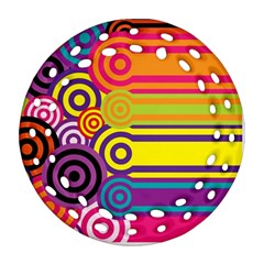 Retro Circles And Stripes Colorful 60s And 70s Style Circles And Stripes Background Round Filigree Ornament (two Sides) by Simbadda