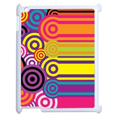 Retro Circles And Stripes Colorful 60s And 70s Style Circles And Stripes Background Apple Ipad 2 Case (white) by Simbadda
