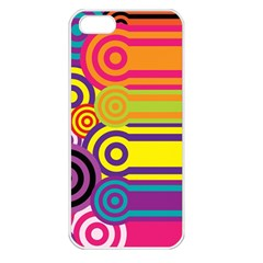 Retro Circles And Stripes Colorful 60s And 70s Style Circles And Stripes Background Apple Iphone 5 Seamless Case (white) by Simbadda
