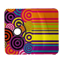 Retro Circles And Stripes Colorful 60s And 70s Style Circles And Stripes Background Galaxy S3 (flip/folio) by Simbadda