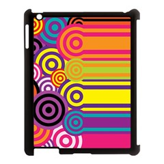 Retro Circles And Stripes Colorful 60s And 70s Style Circles And Stripes Background Apple Ipad 3/4 Case (black) by Simbadda