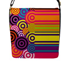 Retro Circles And Stripes Colorful 60s And 70s Style Circles And Stripes Background Flap Messenger Bag (l)  by Simbadda