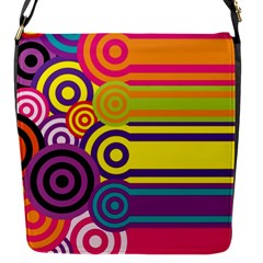 Retro Circles And Stripes Colorful 60s And 70s Style Circles And Stripes Background Flap Messenger Bag (s) by Simbadda
