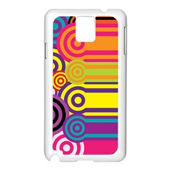 Retro Circles And Stripes Colorful 60s And 70s Style Circles And Stripes Background Samsung Galaxy Note 3 N9005 Case (white) by Simbadda