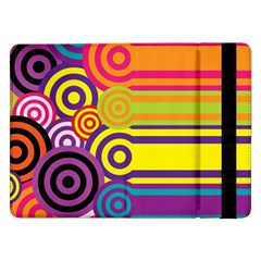 Retro Circles And Stripes Colorful 60s And 70s Style Circles And Stripes Background Samsung Galaxy Tab Pro 12 2  Flip Case by Simbadda