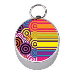Retro Circles And Stripes Colorful 60s And 70s Style Circles And Stripes Background Mini Silver Compasses by Simbadda