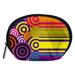 Retro Circles And Stripes Colorful 60s And 70s Style Circles And Stripes Background Accessory Pouches (medium)  by Simbadda