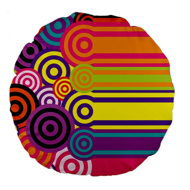 Retro Circles And Stripes Colorful 60s And 70s Style Circles And Stripes Background Large 18  Premium Flano Round Cushions