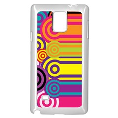 Retro Circles And Stripes Colorful 60s And 70s Style Circles And Stripes Background Samsung Galaxy Note 4 Case (white)