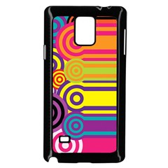 Retro Circles And Stripes Colorful 60s And 70s Style Circles And Stripes Background Samsung Galaxy Note 4 Case (black)