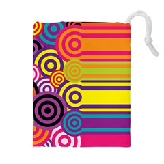 Retro Circles And Stripes Colorful 60s And 70s Style Circles And Stripes Background Drawstring Pouches (extra Large) by Simbadda