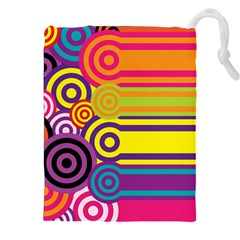 Retro Circles And Stripes Colorful 60s And 70s Style Circles And Stripes Background Drawstring Pouches (xxl)