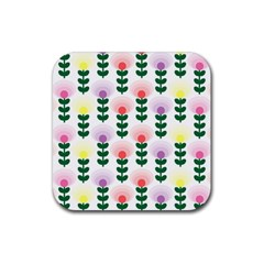 Floral Wallpaer Pattern Bright Bright Colorful Flowers Pattern Wallpaper Background Rubber Coaster (square)  by Simbadda