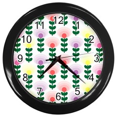Floral Wallpaer Pattern Bright Bright Colorful Flowers Pattern Wallpaper Background Wall Clocks (black) by Simbadda