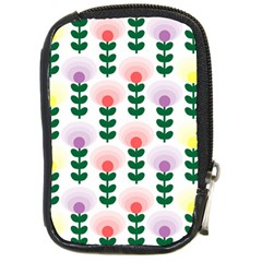 Floral Wallpaer Pattern Bright Bright Colorful Flowers Pattern Wallpaper Background Compact Camera Cases