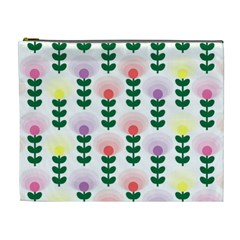 Floral Wallpaer Pattern Bright Bright Colorful Flowers Pattern Wallpaper Background Cosmetic Bag (xl)