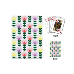 Floral Wallpaer Pattern Bright Bright Colorful Flowers Pattern Wallpaper Background Playing Cards (mini)