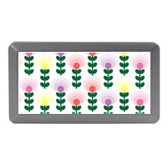 Floral Wallpaer Pattern Bright Bright Colorful Flowers Pattern Wallpaper Background Memory Card Reader (mini) by Simbadda