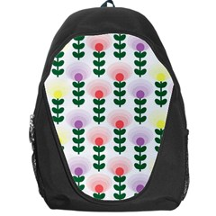 Floral Wallpaer Pattern Bright Bright Colorful Flowers Pattern Wallpaper Background Backpack Bag by Simbadda