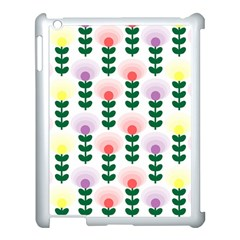 Floral Wallpaer Pattern Bright Bright Colorful Flowers Pattern Wallpaper Background Apple Ipad 3/4 Case (white) by Simbadda