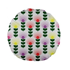 Floral Wallpaer Pattern Bright Bright Colorful Flowers Pattern Wallpaper Background Standard 15  Premium Round Cushions by Simbadda