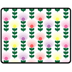 Floral Wallpaer Pattern Bright Bright Colorful Flowers Pattern Wallpaper Background Double Sided Fleece Blanket (medium)