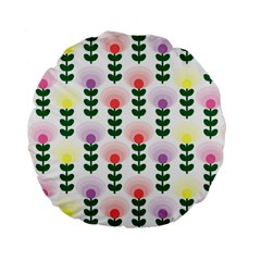 Floral Wallpaer Pattern Bright Bright Colorful Flowers Pattern Wallpaper Background Standard 15  Premium Flano Round Cushions by Simbadda