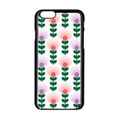 Floral Wallpaer Pattern Bright Bright Colorful Flowers Pattern Wallpaper Background Apple Iphone 6/6s Black Enamel Case by Simbadda