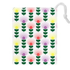 Floral Wallpaer Pattern Bright Bright Colorful Flowers Pattern Wallpaper Background Drawstring Pouches (xxl)