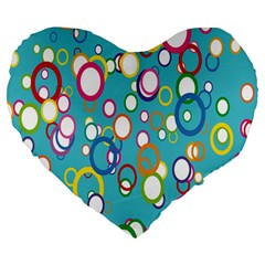 Circles Abstract Color Large 19  Premium Flano Heart Shape Cushions