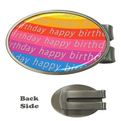 Colorful Happy Birthday Wallpaper Money Clips (oval)  by Simbadda