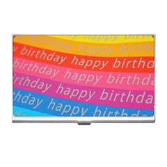 Colorful Happy Birthday Wallpaper Business Card Holders by Simbadda
