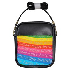 Colorful Happy Birthday Wallpaper Girls Sling Bags by Simbadda