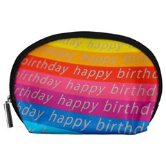 Colorful Happy Birthday Wallpaper Accessory Pouches (large)  by Simbadda