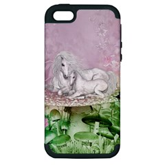 Wonderful Unicorn With Foal On A Mushroom Apple Iphone 5 Hardshell Case (pc+silicone) by FantasyWorld7