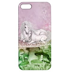 Wonderful Unicorn With Foal On A Mushroom Apple Iphone 5 Hardshell Case With Stand by FantasyWorld7
