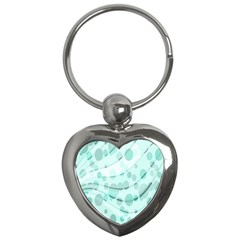Abstract Background Teal Bubbles Abstract Background Of Waves Curves And Bubbles In Teal Green Key Chains (heart)  by Simbadda