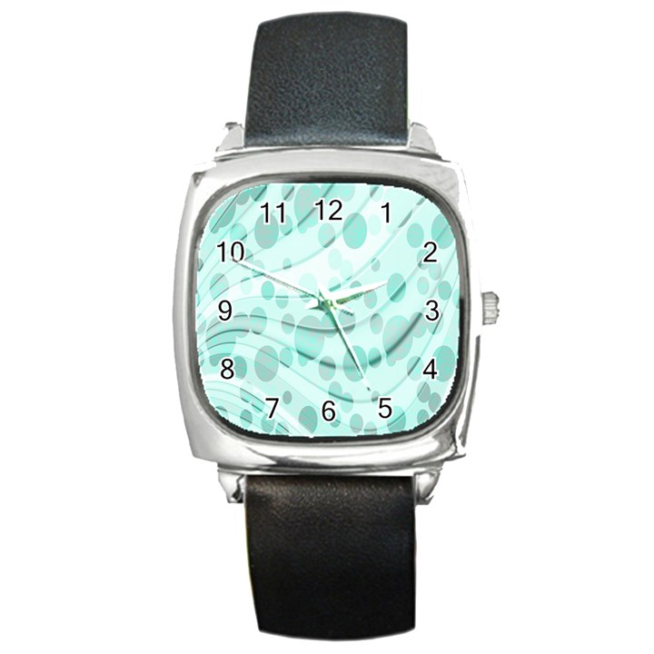 Abstract Background Teal Bubbles Abstract Background Of Waves Curves And Bubbles In Teal Green Square Metal Watch