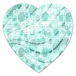 Abstract Background Teal Bubbles Abstract Background Of Waves Curves And Bubbles In Teal Green Jigsaw Puzzle (Heart) Front