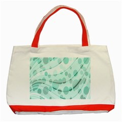 Abstract Background Teal Bubbles Abstract Background Of Waves Curves And Bubbles In Teal Green Classic Tote Bag (red)