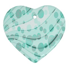 Abstract Background Teal Bubbles Abstract Background Of Waves Curves And Bubbles In Teal Green Heart Ornament (two Sides) by Simbadda