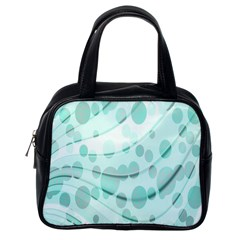 Abstract Background Teal Bubbles Abstract Background Of Waves Curves And Bubbles In Teal Green Classic Handbags (one Side) by Simbadda