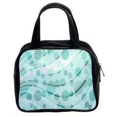 Abstract Background Teal Bubbles Abstract Background Of Waves Curves And Bubbles In Teal Green Classic Handbags (2 Sides) by Simbadda