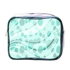 Abstract Background Teal Bubbles Abstract Background Of Waves Curves And Bubbles In Teal Green Mini Toiletries Bags by Simbadda