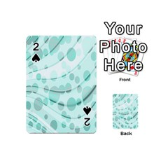 Abstract Background Teal Bubbles Abstract Background Of Waves Curves And Bubbles In Teal Green Playing Cards 54 (mini)  by Simbadda