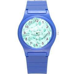 Abstract Background Teal Bubbles Abstract Background Of Waves Curves And Bubbles In Teal Green Round Plastic Sport Watch (s)