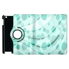 Abstract Background Teal Bubbles Abstract Background Of Waves Curves And Bubbles In Teal Green Apple Ipad 2 Flip 360 Case by Simbadda