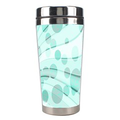Abstract Background Teal Bubbles Abstract Background Of Waves Curves And Bubbles In Teal Green Stainless Steel Travel Tumblers by Simbadda