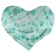 Abstract Background Teal Bubbles Abstract Background Of Waves Curves And Bubbles In Teal Green Large 19  Premium Flano Heart Shape Cushions
