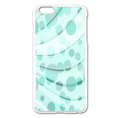Abstract Background Teal Bubbles Abstract Background Of Waves Curves And Bubbles In Teal Green Apple Iphone 6 Plus/6s Plus Enamel White Case